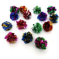 Wholesale cat toys free shipping - 2016 new Cat Toys 100 Pack MYLAR balls crinkle cat toys kitten toy ball free shipping
