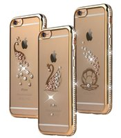 Cover Retour Case Phone Placage Swan Owl Peacock Shell Diamant Rose Soft Gold TPU Ultra mince pour iPhone 6s S7 EDGE