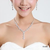 Wholesale Crystal Necklace Settings - Shining Elegant Wedding Bridal Jewelry Prom Silver plated Rhinestone Crystal Birdal Jewelry New Bling necklace and earring set 15049