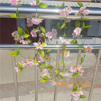 Wholesale Long Hanging Lights - 230cm Long Fake Sakura Vines Artificial Cherry Blossom Vine for Wedding Party Home Decorative Wall Hanging Flowers