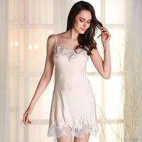 Wholesale Plus Silk Chemise - Wholesale- Lace satin nightgowns women silk lace nightgowns plus size sexy sleep dress for adults sleep chemise Kigurumi sleepwear dress