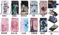 Wholesale Galaxy S4 Elephant Case - Cartoon Skull Flower Wallet Leather Case For Samsung Galaxy S6 S7 Edge S3 S4 S5 Grand Prime Core G360 Castle Bee Elephant Pouch Stand Cover