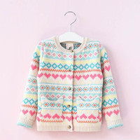 Wholesale Girl Love Cardigan - 2017 Autumn New Baby Girl Sweaters Cardigan loving heart Sweater Coat Children Clothes 2-8T E317145