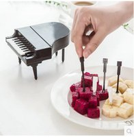 Wholesale home sale signs - Plastic Fruit Sign Cartoon Safe Convenient Fork Creative Piano Modeling Fruits Forks For Home Party Utensils Hot Sale 3 5zb B R
