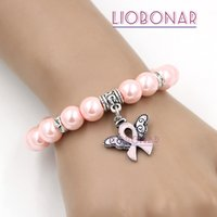 Wholesale Angels Ribbons - Wholesale New Arrival Pearl Bead Breast Cancer Awareness Bracelet Angel Wings Pink Ribbon Charms Bracelet Jewelry for Cancer Center
