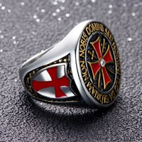 Wholesale Ring Size 15 - Rhinestone Stainless Steel Crusader Rings - (Gold Silver Color) Men's Cross Knights Templar Ring For Punk Rock Biker Cowboy (US Size 8-15)