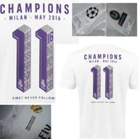 Wholesale Dry Printing - Real Madrid UCL Final 2016 champion jersey with La Undecima printing 11 cup Commemorative Edition white soccer jersey