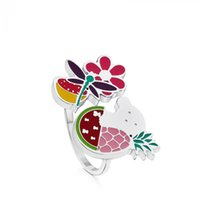 Wholesale Asian Dragonfly - New for women Dragonflies, watermelons flower rings, enamel colors party gift bears rings