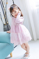 Wholesale multilayer dress - 2017 Fashion baby girls Embroidered princess dress joint sweater multilayer lace dresses Kids Clothing 2 colors top quality