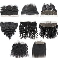 Wholesale Cheap Brazilian Lace Closures - 7A Brazilian Body Wave Curly Straight Hair Ear to Ear Lace Closures 1B 13X4 Peruvian Virgin Lace Frontal Hair Cheap Human Hair
