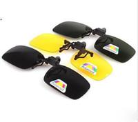 gece görüş gözlükleri polarize güneş gözlüğü toptan satış-20 adet / grup Toptan-Yeni Polarize Gündüz Gece Görüş Klipsli Flip-up Lens Sürüş Gözlük Güneş Gözlüğü