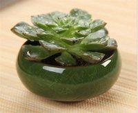 ingrosso vaso di bonsai in ceramica-Fashion Microlandschaft Mini Piante grasse Fiori Vaso Flowerpot Terrarium Contenitore Mini vasi bonsai Accessori ceramici