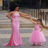 Wholesale Tea Length Open Back Wedding - 2017 Newly Adorable Pink Girls Pageant Dresses Spaghetti Straps Sequined Mother and Daughter Dresses Open Back Mini Me Dresses Custom Made