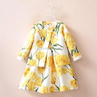 Wholesale Baby Girls Coat Dress - Fashion children girls tulip printing outfits Autumn dress+coat 2pcs set Cotton baby outfits kids Clothes free shipping C1177