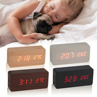 Wholesale Large Number Digital Clock - Large Size LED Wooden Alarm Clocks with Thermometer Rectangle Table Clocks Big Numbers Digital Clock Classic LED Wooden Clocks
