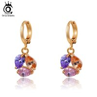 Wholesale Gold Earrings Brilliant - 23 ORSA 18K real Rose Gold Plated Fashion Earring For Ladies with Brilliant AAA Austrian Zircon OME16