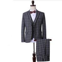 Wholesale Men Vest Boutique - Wholesale-The new boutique Korean Plaid suit groom three piece suit with occupation (jacket+pants+vest)
