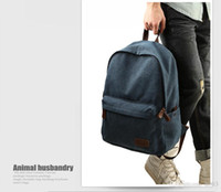 Wholesale Book Shaped Bag - 2016 Fashion Retro Style Men Backpack Bag Leather Straps Fashion Travel Canvas Laptop Backpack Travel Bag Book Bags