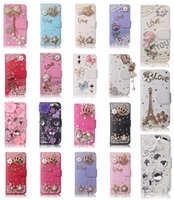Wholesale Case For Iphone4 Luxury - 3D Bling Luxury Flip Leather Wallet Magnetic Diamond Cover Cases For iPhone4 5 SE 6 Plus 7 7 Plus Samsung Galaxy S5 S6 S6EDGEPLUS S7 EDGE