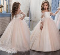 Wholesale Cheap Baby Girl Shirts - Princess Vintage Lace Beaded 2018 Flower Girl Dresses Long Sleeves Blush Tulle Sheer Floor Length Child Baby First Communion Dresses Cheap