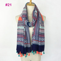 Wholesale Multi Color Scarf Women - New Deisgn Fashionable spring color ladies flower Printing viscose hijab tassel scarf women