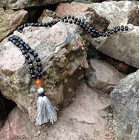 onyx steine perlen halsketten großhandel-ST0186 108 Mala Perlenkette Lange Halskette mit Quaste Verknotet Matte Black Onyx Stein Halskette Phantasie Rosenkranz Halsketten