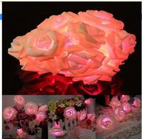 luz de flash rosa venda por atacado-30 led pink rose flor fada festa de casamento de natal dia dos namorados decoração de luz de corda decoração do jardim