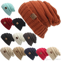 Wholesale Brass Crafts - Unisex CC Trendy Hats Winter Knitted Beanie CC cap Label Winter Knitted Wool Cap Unisex Folds Casual CC Beanies Hat Solid Hat Arts and Craft