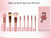 Wholesale Gift Lovely Hello - Wholesale pink Lovely Cartoon Hello Kitty Make Up Tool Cosmetic Brush hello kitty 8pcs set Professional Makeup Brushes Birthday Gifts