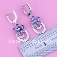 Nueva llegada ! Divine Purple Amethyst White Topaz Silver 18K Gold Filled Fashion Pendientes de gota E450
