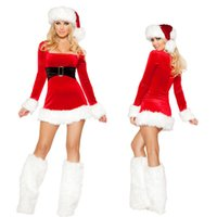 Wholesale Dress Baby Adult Size - Adult Ladies Sexy Santa Baby Fancy Dress Costume Outfit Womens Christmas cosplay dressV029 S-L