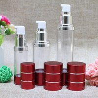 Wholesale Plastic Bottles Pump Dispenser - 15ml 30ml 50ml Wine red Refillable Bottles with silver line Portable Airless Pump Dispenser Bottle For Travel LotionF20171965