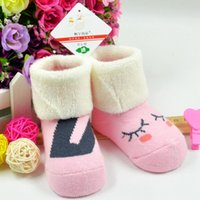 Wholesale Thick Baby Stocking - 1-3 year old babies sock Autumn and winter cotton infant baby toddler socks children baby cartoon thick warm boot stocking Terry socks zjs-2