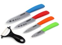"""Wholesale Top Chef Knives Set - Chef knife Top quality Gifts black blade colorful handle 3"""" 4"""" 5"""" 6"""" inch + Peeler + covers ceramic knife set fruit kitchen knives set"""