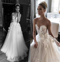 Wholesale Champagne Rose Flower - Illusion Jewel Sweetheart Embellished Ruched Bodice Wedding Dresses 2018 Elihav Sasson Bridal Gown 3D Rose Flower Floor Length Wedding Gowns