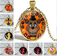 Wholesale Easter Tin Toy - 10 design toy bear Five Nights at Freddy's gem stone necklace fashion cartoon necklace mix color