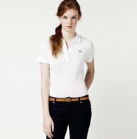 Wholesale Business Polo Shirt - 2017 New Womens Brand Clothing Short Sleeve Shirt Lapel Business women Polo Shirt High Quality Crocodile Embroidery Cotton Woman Polo Shirt