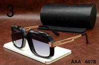 Wholesale Big Frame Vintage Eyeglasses - High quality 607B Sun glasses Eyewear Luxury Polarized Vintage Mens Womens Aviator Sunglasses Brand Designer Oversized Big Frame Eyeglasses
