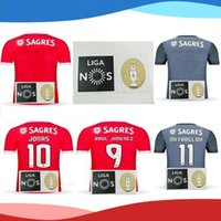 Wholesale Sports Jersey Patches - Thai quality 17 18 Benfica home and away League patch red gray Jerseys 2017 2018 LOPEZ SALVIO RAUL JIMENEZ JONAS Sports Wear Shirts
