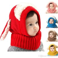 Wholesale Cute Scarf Ties - Novelty Wool Hat Cute Child Puppy Cashmere Ears Beanie Shawl Hat One-piece Neck Warm Winter Hat For Boy & Girl Baby