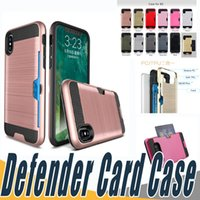 Wholesale Lg L5 Black - 2 In 1 Dual Layered Card Slot Back Case Hybrid Armor Shockproof Cases Cover For LG F720 X Stylus 2 LBello D331 D337 ZTE L5 V6 Plus