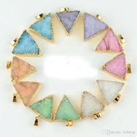 Wholesale 25 Jewelry - Druzy Quartz Crystal Charm Pendant Gold Plated Triangle Necklace Pendant High Quality DIY Druzy Jewelry 25*27mm