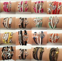 Wholesale Owl Wrap Bracelet - 16 styles Creative leather Wraps bracelet love wings owl Charm multilayer Braided Bracelets For man woman Fashion Jewelry in Bulk