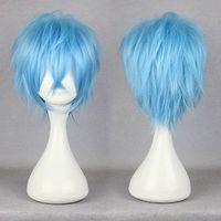 peluca azul de alta calidad al por mayor-100% a estrenar imagen de moda de alta calidad pelucas llenas del cordón karneval-KAROKU 32cm Corto azul claro partido recto animado Cosplay peluca llena