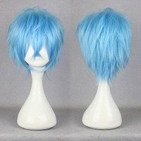 mavi peruk yüksek kalite toptan satış-100% Marka Yeni Yüksek Kalite Moda Resim tam dantel peruk karneval-KAROKU 32 cm Kısa Açık Mavi Düz Anime Parti Cosplay Tam Peruk