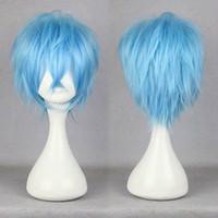 blaue perücke qualität großhandel-100% Nagelneu und Hohe Qualität Mode Bild volle spitzeperücken karneval-KAROKU 32 cm Kurze Hellblau Gerade Anime Party Cosplay Volle Perücke