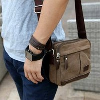 Wholesale Brown Canvas Duffel Bag - Wholesale-Fashion Men's retro Canvas Shoulder Messenger travel leather Bag Satchel duffel bags briefcases brown HW03022