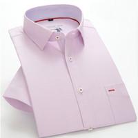 Wholesale Microfiber High Collar Shirts - Wholesale-S-5XL 14 Colors Summer Style Shirt Men High Quality Short Sleeve Casual Men Shirt 2016 New Designer Brand Clothing Plus Size