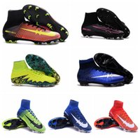 Wholesale Cheap Ronaldo Football Boots - 2016 mens Cheap soccer shoes Superfly V FG cr7 cleats football Boots Blue mercurial soccer cleats High Ankle ronaldo shoes white pink New