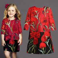 Wholesale Cotton Corduroy Girl Dress - New Autumn Winter Baby Girls Dresses Floral Print Long Sleeve Kids Dresses For Girl Toddler Round Neck